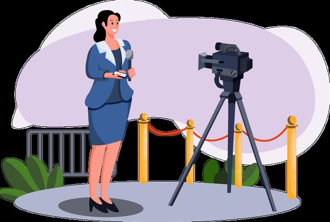 Female news anchor reading news Illustration