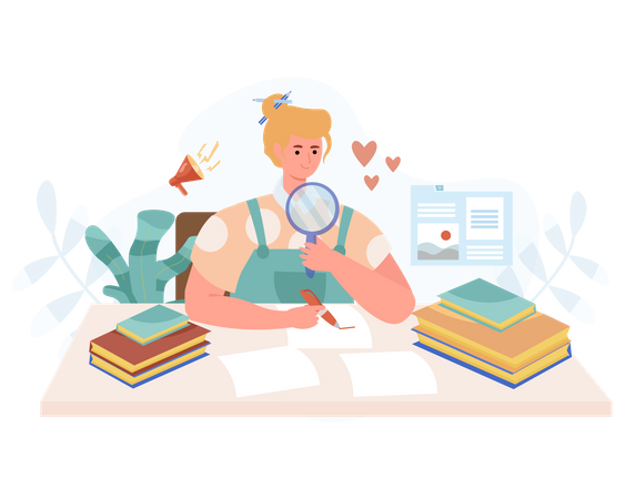 Female news reporter analyzing news and writing in papers Illustration