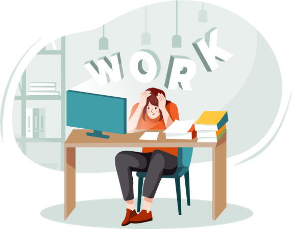 Female office workers pressure because of work Illustration