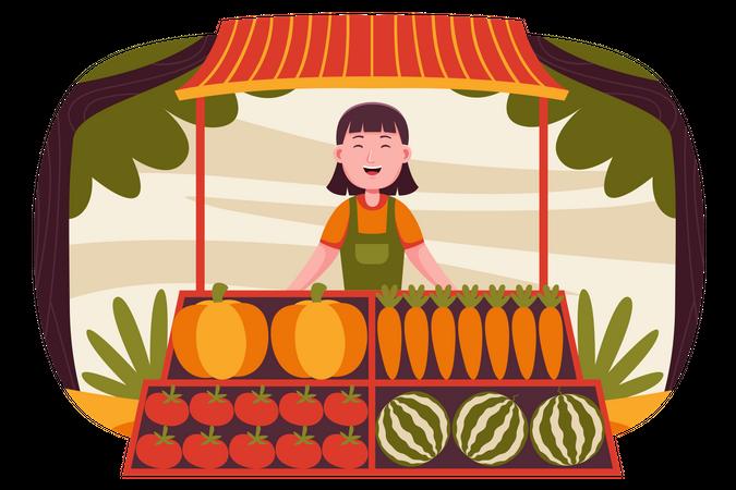 Female owner standing at fruit stall Illustration