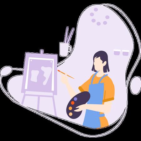 Female painter Illustration