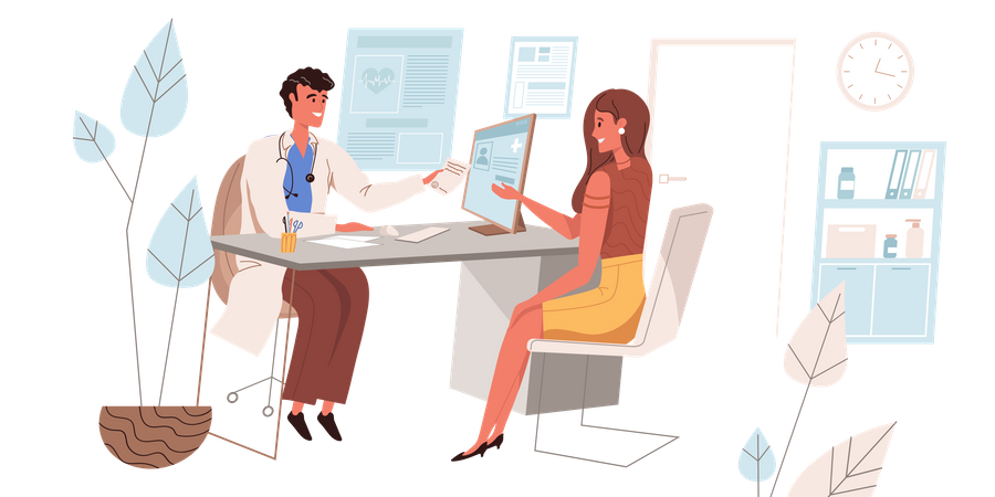 Female Patient Consulting Doctor Illustration