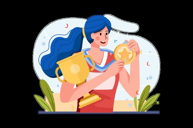 Female player won medal and trophy Illustration