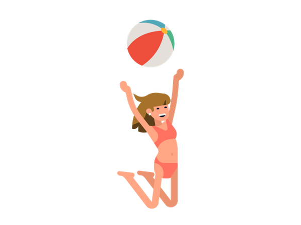 Female playing with beach ball Illustration