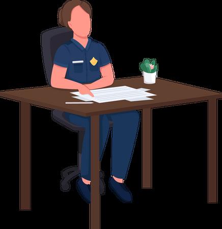 Female police officer at desk Illustration