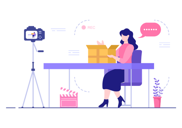 Female Product Reviewer Illustration