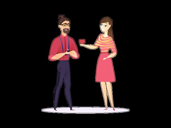 Female proposing male employee Illustration