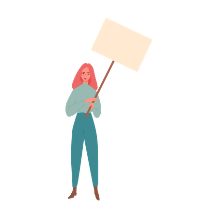 Female protester with blank board Illustration