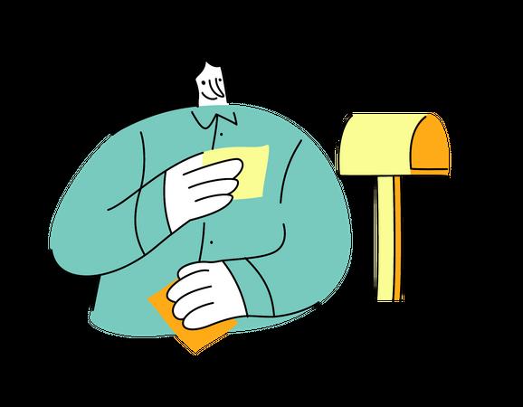Female reading letter Illustration