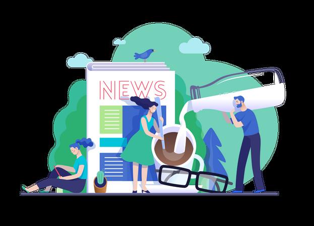 Female reading news in morning Illustration