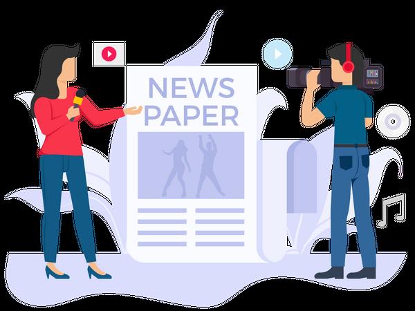 Female reporter doing news reporting Illustration