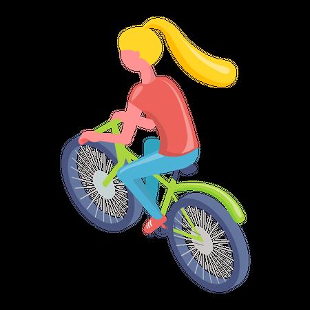 Female riding bicycle Illustration