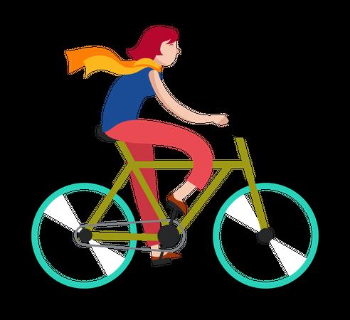 Female riding on bicycle Illustration