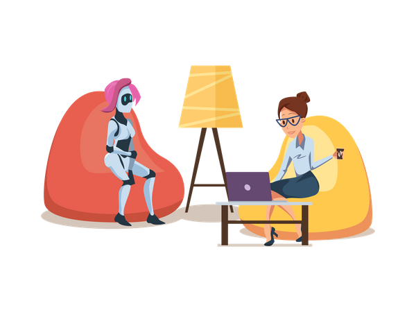 Female robot and female employee sitting on bean-bag Illustration