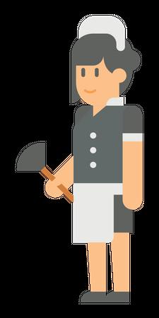 Female room cleaner Illustration