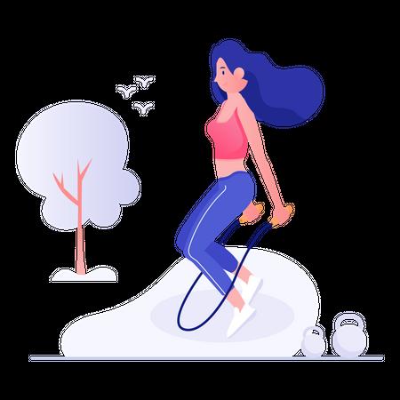 Female rope jumping Illustration