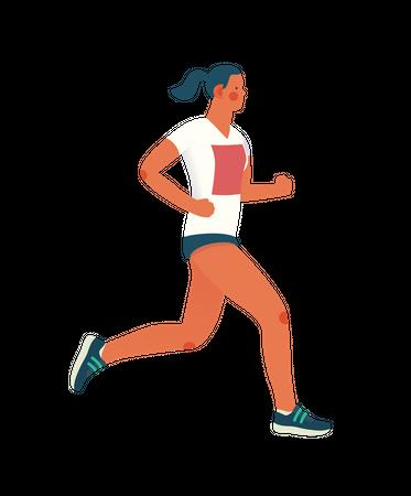 Female runner running Illustration