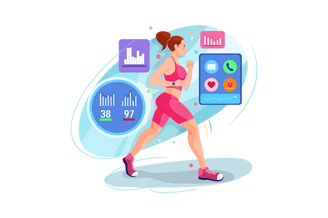 Female runner running wearing smartwatch Illustration
