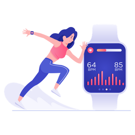 Female runner wearing smartwatch Illustration