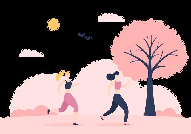 Female Runners Running Illustration