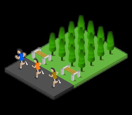 Female runners running in park Illustration