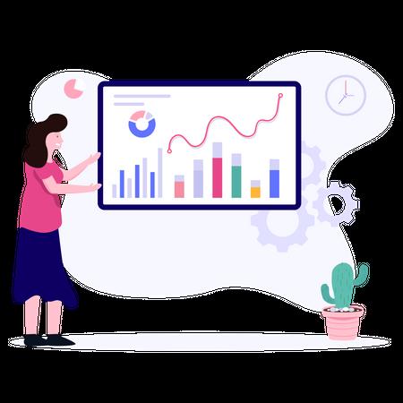 Female sales executive analyzing sales growth Illustration