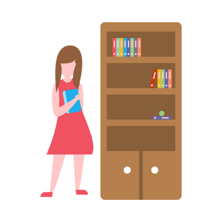 Female secretory standing near cupboard Illustration