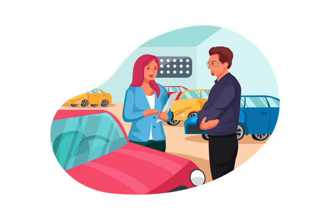 Female showroom executive giving details about car to customer Illustration