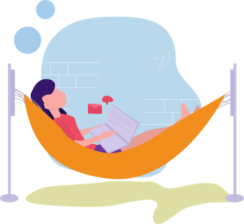 Female sleeping on rope swing Illustration