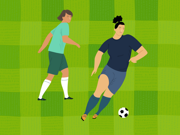 Female soccer player playing in match Illustration