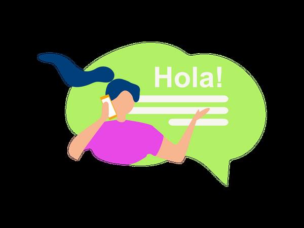 Female speaking hello in Spanish Illustration