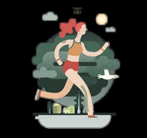 Female sportsperson running Illustration