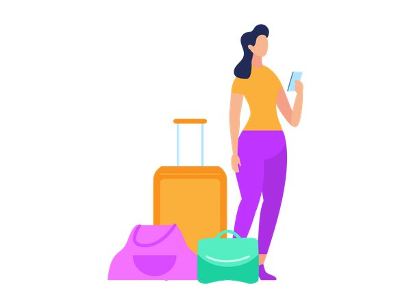 Female standing with luggage Illustration