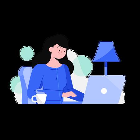 Female student studying on laptop Illustration