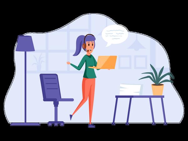 Female support executive Illustration