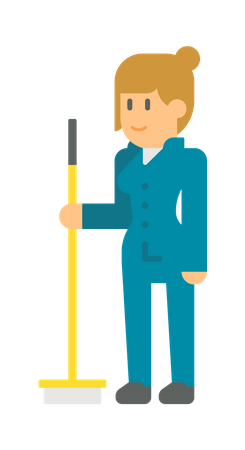 Female sweeper Illustration