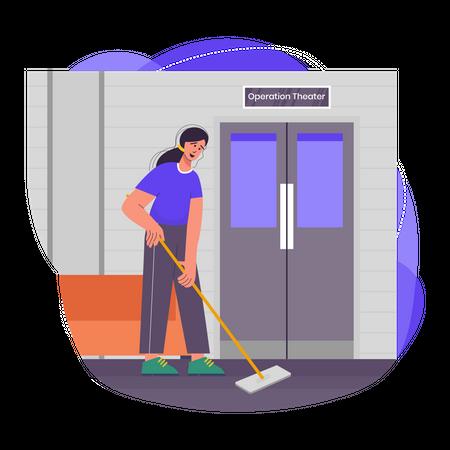 Female sweeper doing work at hospital Illustration