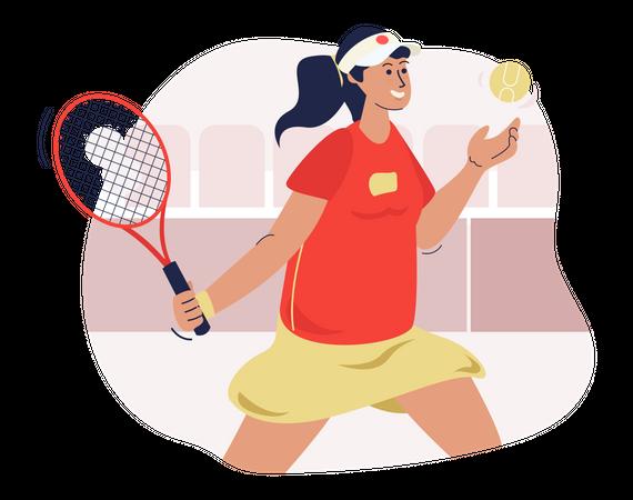 Female tennis player Illustration