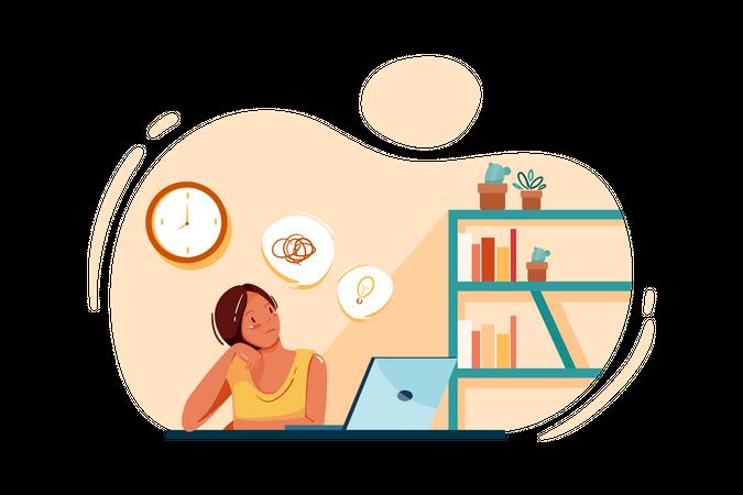 Female thinking about business idea Illustration