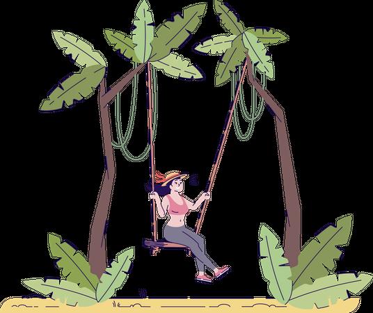 Female tourist on swing Illustration