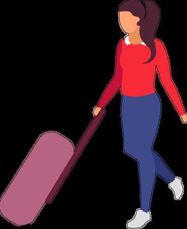 Female traveler holding luggage Illustration