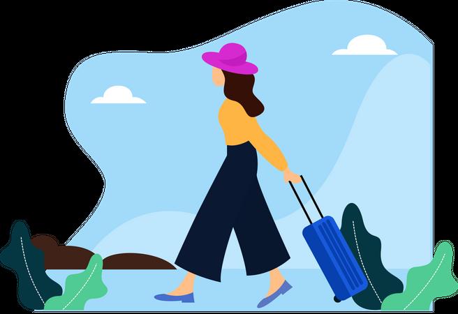 Female Traveler Holding Suitcase Illustration