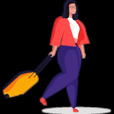 Female travelling with suitcase Illustration