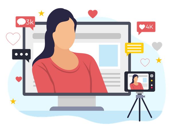 Female vlogger posting video on social media Illustration