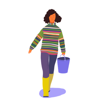 Female walking with bucket in her hand Illustration