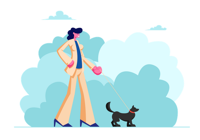 Female Walking with Dog in Public City Park Illustration
