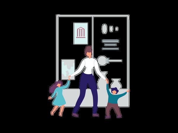 Female walking with her children's in art gallery Illustration