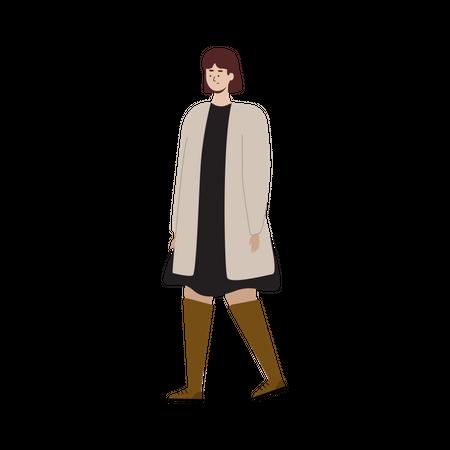 Female wearing autumn clothes Illustration