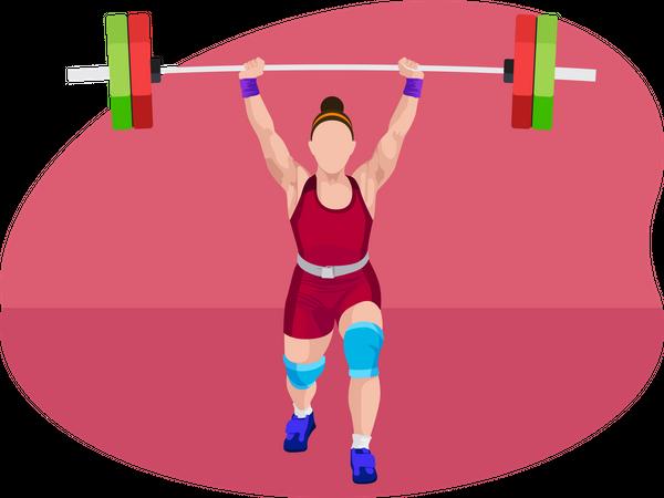 Female weightlifter Illustration