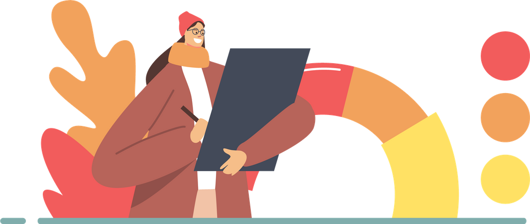Female with Tablet in Hand Choose Color from Autumn Color Palette for Design Illustration